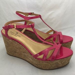 Kate Spade Pink Leather Strappy Wedge